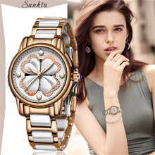 SUNKTA Quartz Women Watches Fashion Sport Waterproof Watch Women Ceramics Stainles Steel Top Luxury Brand Watch Relogio Feminino women watches 2016 guanqin tungsten steel waterproof quartz watch luxury women brand fashion watches relogio feminino