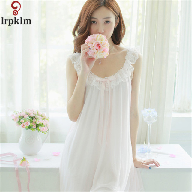 45ae56cdfa Women Nightgown Sleeveless Long Sleepwear White Floral Casual Style Cotton  Nightgown Loose Comfortable Homewear SY759