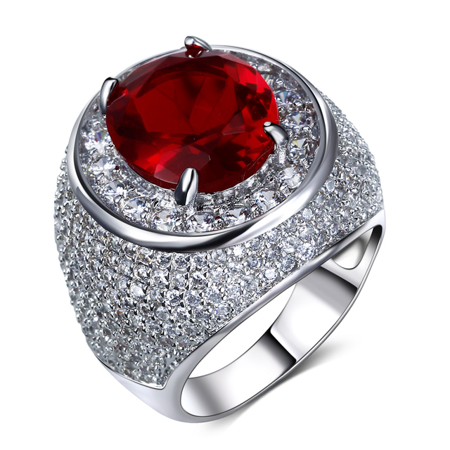 Very Nice Ring And Fast Shipping! 5 Colors Cubic Zirconia Rings Plated by Rhodium Large Crystal Zirconia Luxury Finger Ring