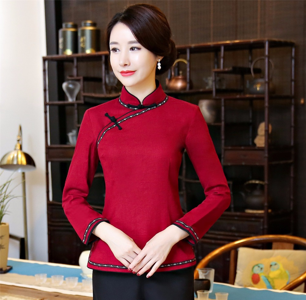 42368712f0c Shanghai Story Chinese Standing Collar Woman s Shirt chinese traditional top  Long Sleeve cheongsam top Chinese Linen blouse