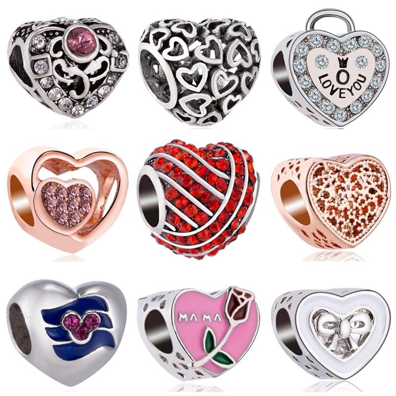 Rose libellule ajourée à serrure de fleur, cœur en cristal, perles Pandora Bracelets à breloques Original, Bracelets pour femmes, cadeau idéal