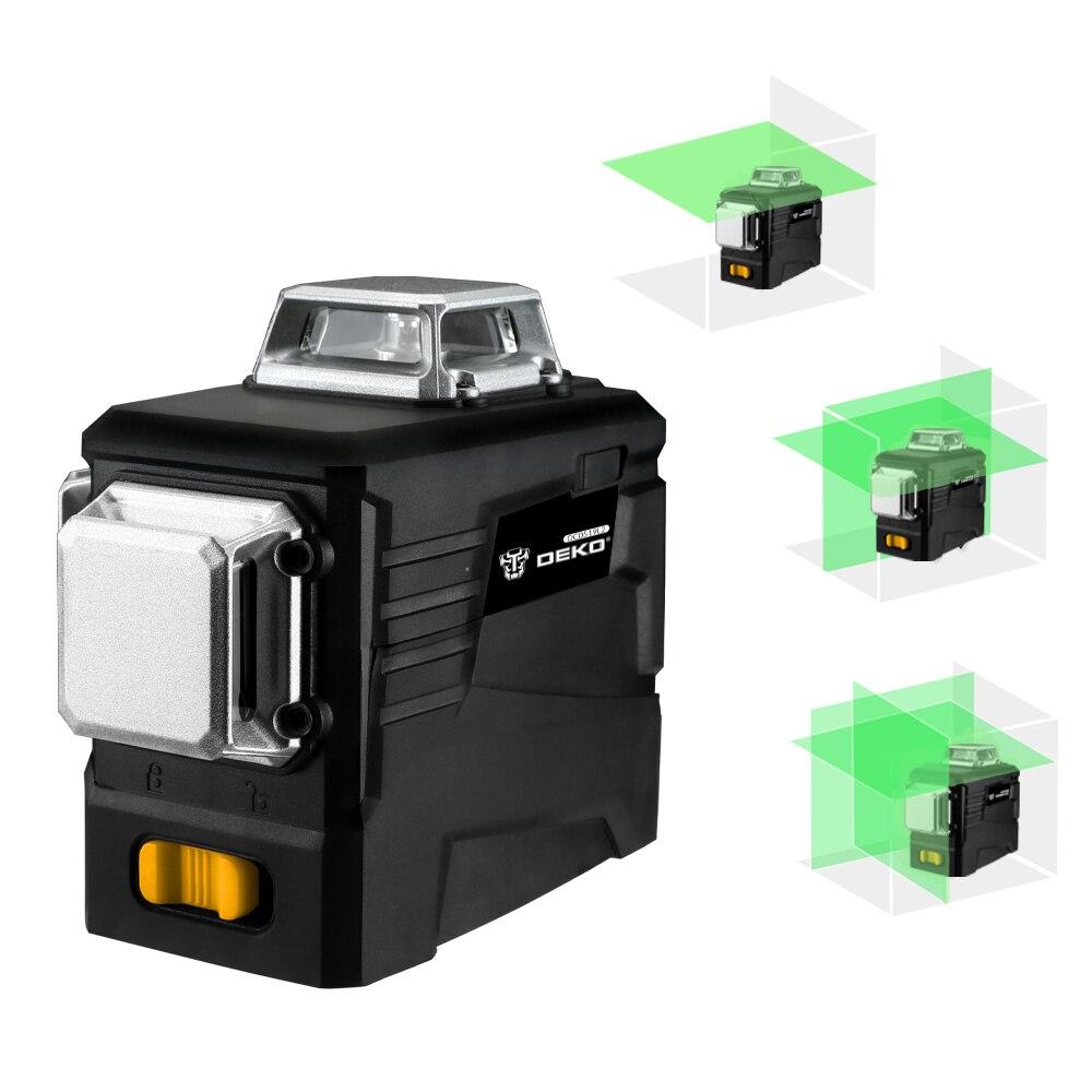 DEKO DKLL12PB1 12 линий 3D зеленый лазерный уровень Горизонтальные и вертикальные поперечные линии с автоматическим самонивелированием, в помещении и на улице