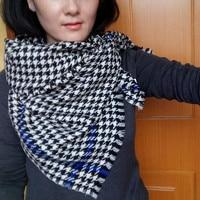 100% wool women long scarf, women fashion long scarf,tartan scarf plover case scarf blue black white
