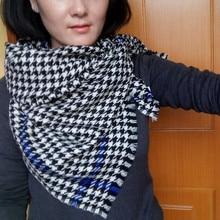 100 wool women long scarf women fashion long scarf tartan scarf plover case scarf blue black