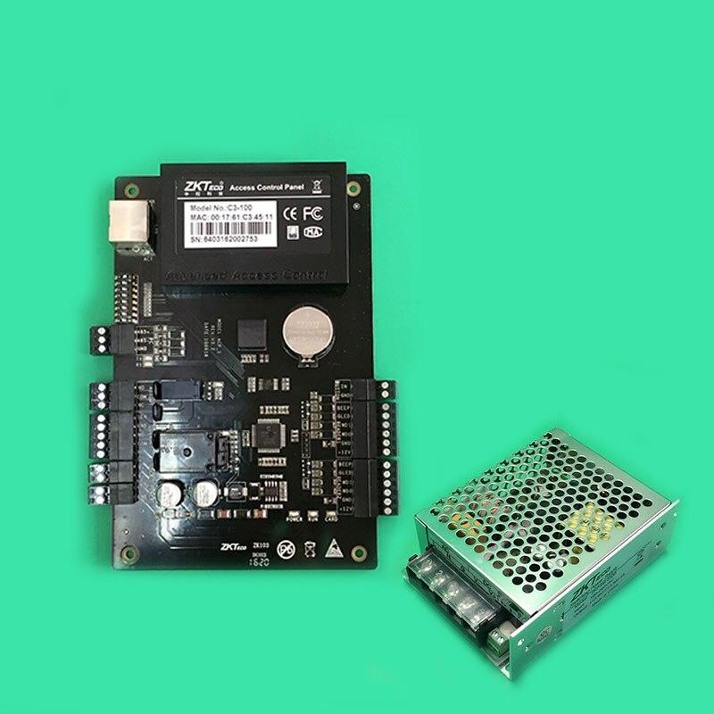 C3-100 Unique Porte 2 Lecteur Professionnel RFID IC Contrôle D'accès TCPIP + ZK d'origine PSM030B Alimentation