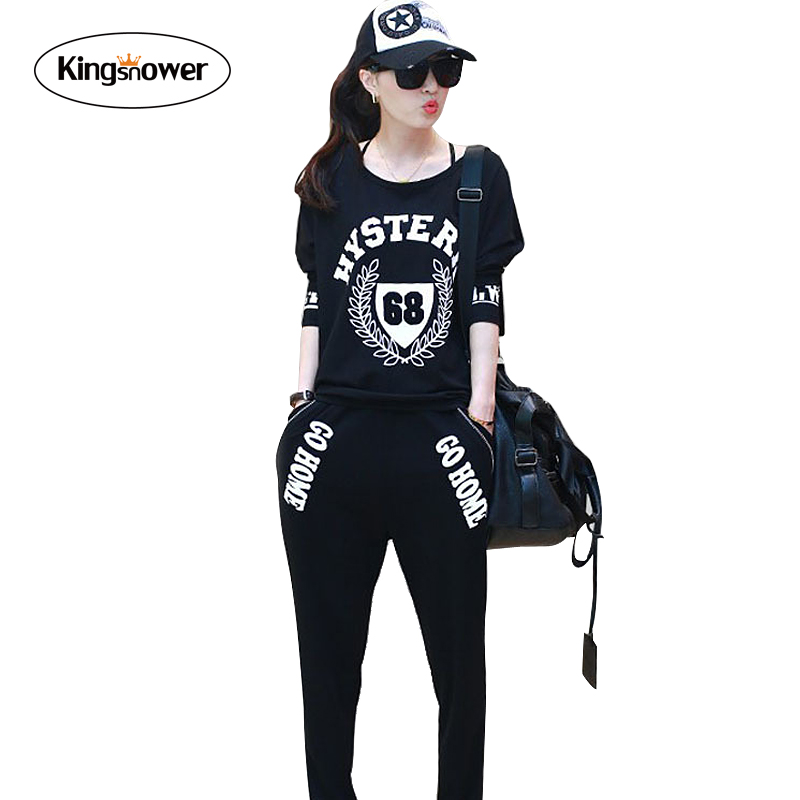 2016 Fashion Women Sportswear Summer Print Tracksuits Long Sleeve Casual Costumes Mujer 2 Piece Set T-shirt + Pant JA4009