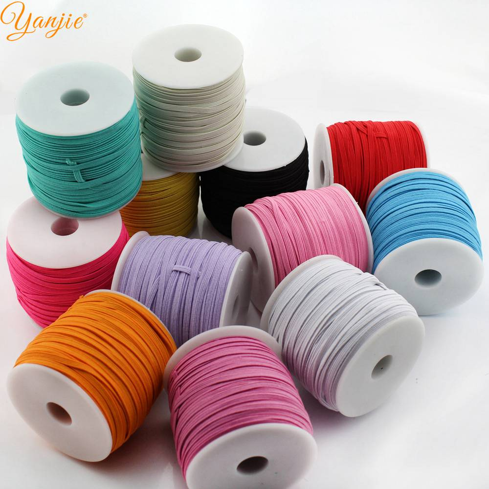 DHL shipping 30rolls 30colors 1 8 Skinny Elastic 3mm Width 50yards roll DIY Kids Headbands Hair