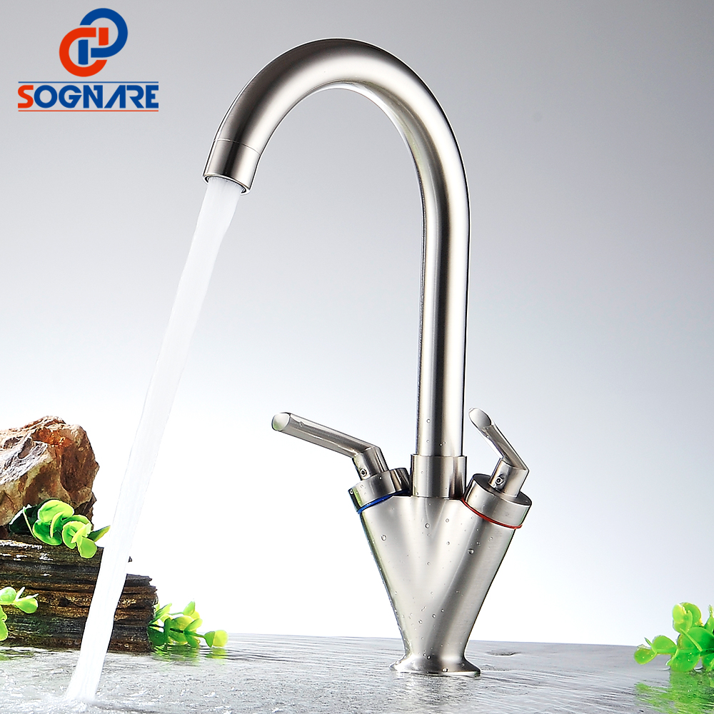 SOGNARE Kitchen Faucet 360 Degree Rotation Dual Holder Single Hole Kitchen Mixer Water Tap Solid Brass Nickel Brushed Sink Crane