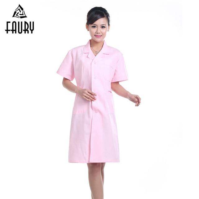 Femmes infirmière uniforme à manches courtes col rond réglable pharmacie hôpital chirurgie médicale laboratoire manteaux travail porter accessoires
