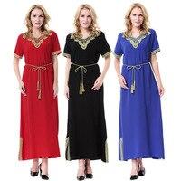 Muslim Abaya Formal Dress Short Sleeve Summer Clothing Maxi Robe Hijabs Ramadan Kaftan Saudi Arab Dubai Middle Eastern Dresses
