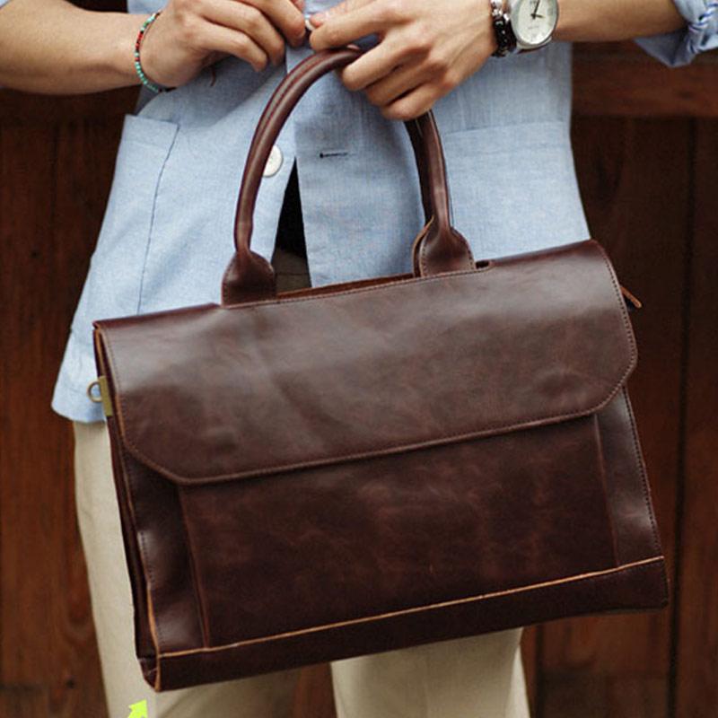 Man Retro PU Leather Handbag Large Capacity Business Travel Crossbody Bag Best Sale-WT
