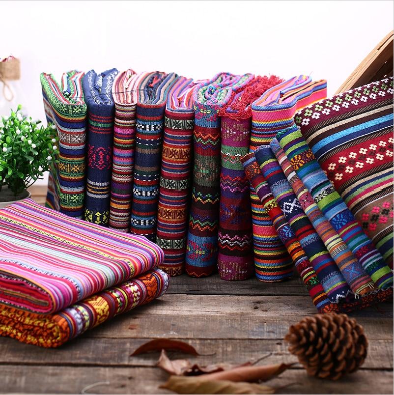 Sofa Cover Fabric DIY Ethnic Bag Curtain Cotton Linen Fabrics Textile For Patchwork Sofas Materials Cloth Fabric Tissu D20