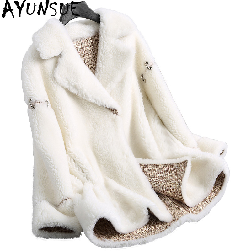AYUNSUE Women Winter Jacket Real Wool Fur Coat Female 2019 Fashion White Thick Lamb Fur Coats Outerwear Abrigo Mujer NST18074