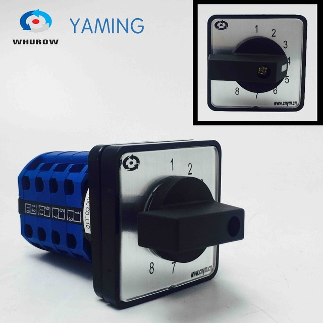 Yaming Electric AC 500V 16A 8 position Universal Latching Rotary Selector Cam Changeover Switch Panel Mounting LW39B-16/4 стоимость