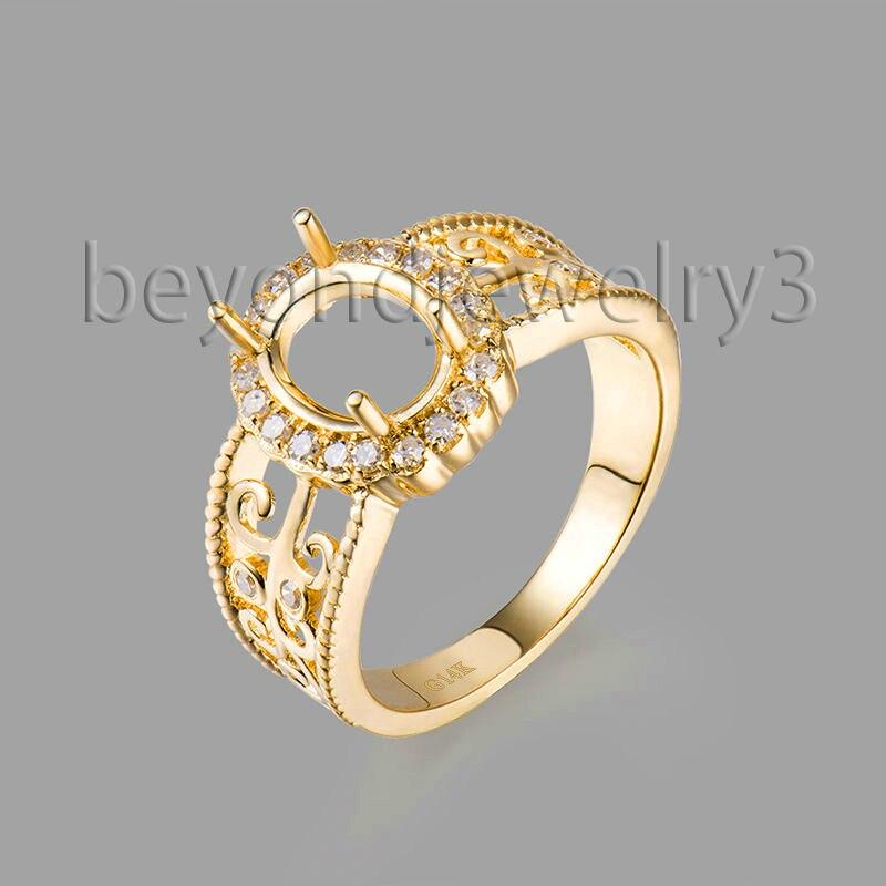 Romantic Oval 9x7mm Semi Mount Engagement Rings 14K Yellow
