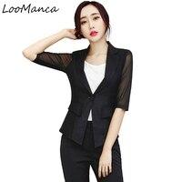 2017 Leisure Black RedSuit Blazer Jacket Office Women Short Sleeve Jacket Blazers Plus Size Elegant Suit