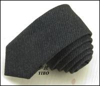 Latest men high-grade wool narrow tie gray pinstripe classical design style atmosphere black tie