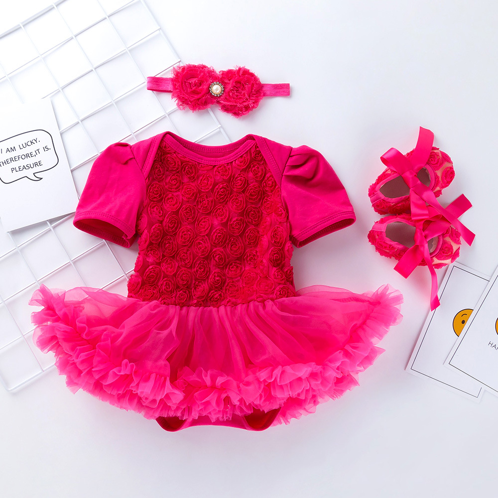 d772a2b7808d0 Newborn Kids Toddler Infant Girls Summer Cotton Tutu Dress Headband+Shoes  Suit Bebe Clothes Baby Girl First Birthday Outfit