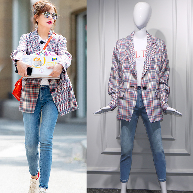 Fall Star Zhao Wei's Chinese Restaurant 2 Similar Chequered Loose Korean Port Style Retro Suit Coat And Jacket Women Plaid