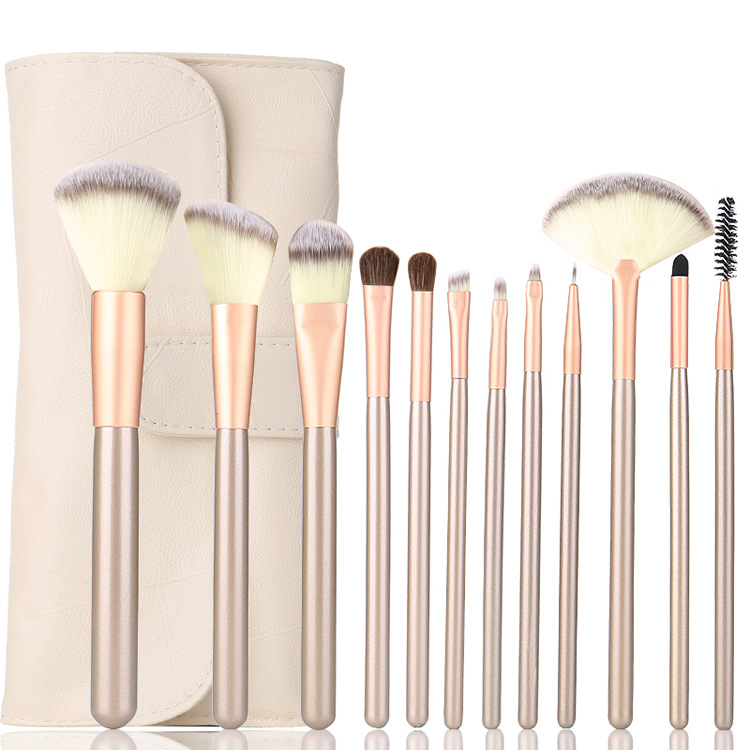 12/18/24pcs Professional Makeup Brushes Set Kit Woman Foundation Powder Eyeliner Lip Beauty Tool Powder Brush With Leather Case