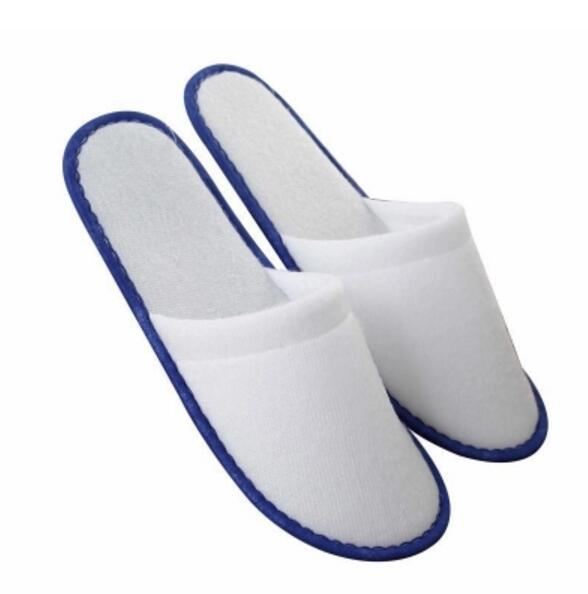 1 Pairs Of White Towelling Hotel Disposable Slippers Terry Spa Guest Shoes Soft Bottom Indoor Shoes Convenient