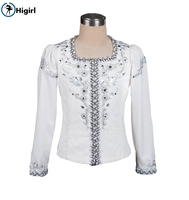 boys white silver professional ballet stage costume men's performance outwear male ballet tunic jacket competitionBM0005