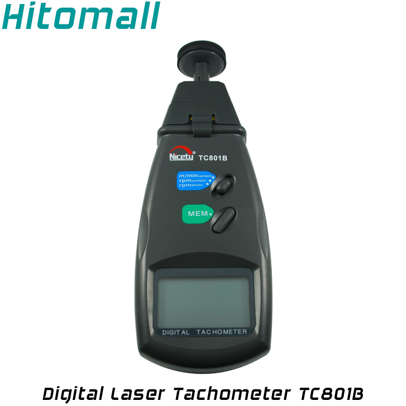 Digital Laser Tachometer RPM Meter Contact and Non-Contact Motor Speed Spin Rotation Speed Backlight Photo Tachometer TC801B