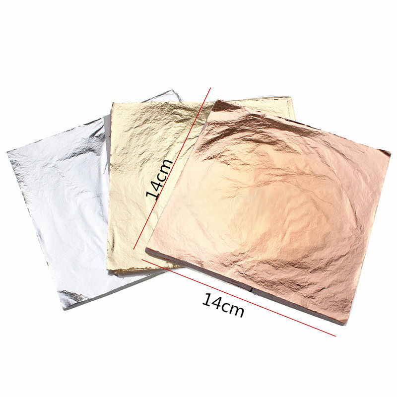 100pcs 14cm Imitation Gold Sliver Copper Leaf Leaves Metal Sheets Foil For Gilding Craft Decoration DIY Art Craft Paper Decor