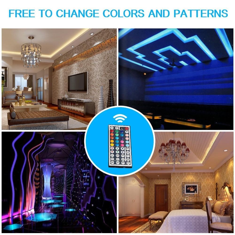 Купить с кэшбэком MARSWALLED 5M SMD5050 RGB LED Strip Light Waterproof IP65+ 44key IR Remote Controller for Kitchen Room Coffee Bar Party Wedding
