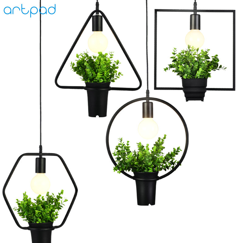 Artpad Modern Green Plant Pendant Light Wrought Iron Decor Restaurant Hotel Bar Cafe Living Room Study Lighting LED Pendant Lamp phube lighting modern pendant light black white green grey pendant light bar restaurant living room lighting