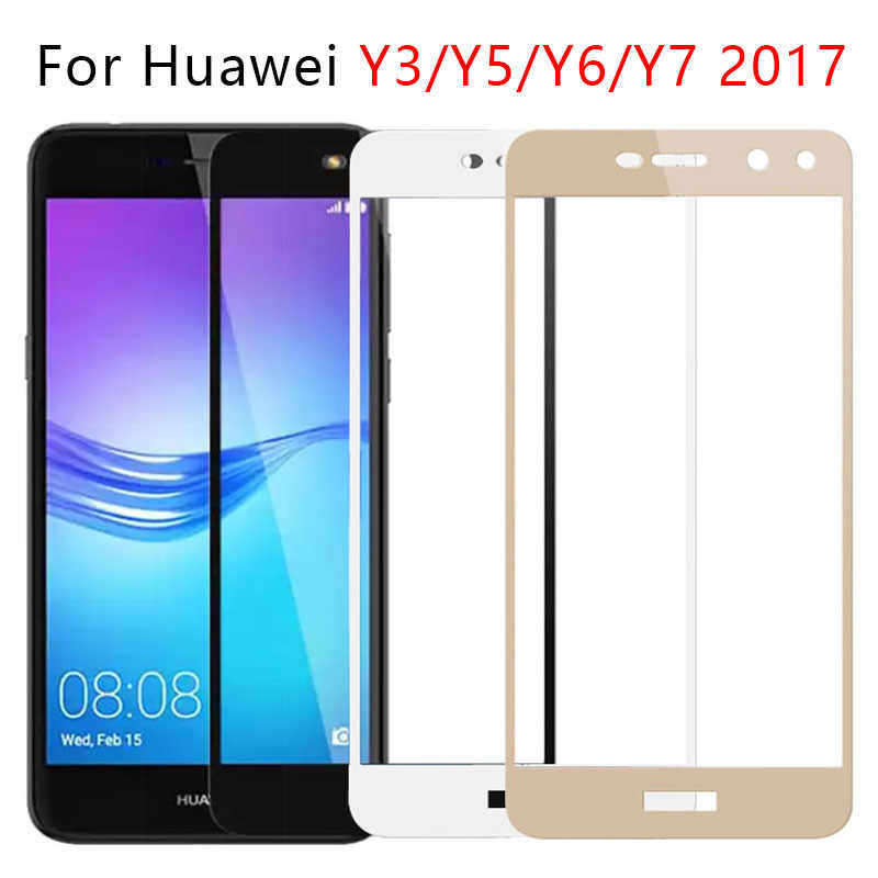Case On For Huawei Y3 Y5 Y6 Y7 2017 Full Cover Tempered Glass Screen Protector Phone Y 3 5 6 7 Y32017 Y52017 Y62017 Tremp Safety