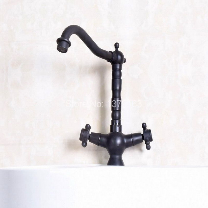 Two Cross Handles Black Oil Rubbed Brass Single Hole Swivel Spout Kitchen Sink Bathroom Vessel Basin Faucet Mixer Tap anf139 black oil rubbed brass single hole handle kitchen swivel spout vessel basin sink faucet hot cold mixer water tap anf060