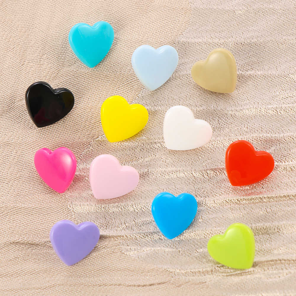 10Set(40Pcs) 12MM Snap Buttons DIY Scrapbooking Sewing Accessories Love Heart Plastic Fasteners Press Button Snap Buttons