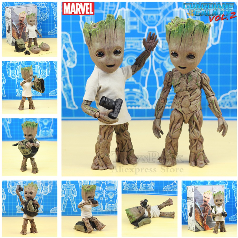 цена на Life Size 1:1 Marvel Guardians of The Galaxy Avengers Cute Baby Young Tree Man BJD 25CM Action Figure KO's HT Hot Toys Legends