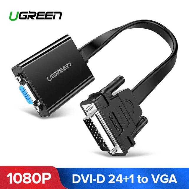 Ugreen Aktif DVI TO VGA Adaptor 1080 P DVI D 24 + 1 TO VGA Male To Female Adaptor Converter kabel untuk Laptop PC Host Kartu Grafis