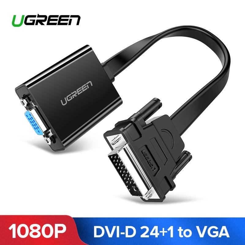 Ugreen activo adaptador DVI a VGA 1080 P DVI-D 24 + 1 a VGA macho a hembra Adaptador convertidor cable para ordenador portátil PC Host tarjeta de gráficos