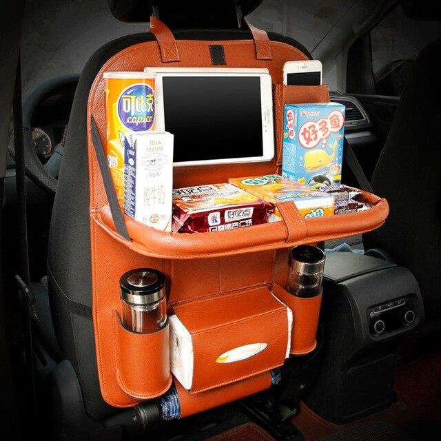 Leather Car Back Seat Organizer Pockets Folding Backseat Hanging holder Storage Bags Car Tissue Bag Auto Organizador Black