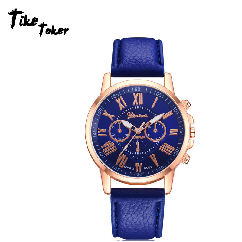 Women's Watches Fashion Tike Toker Brand Roman Numerals Faux Leather Analog Quartz Wrist Watch Women Female