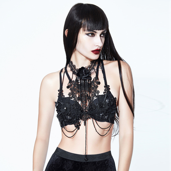 EVA LADY Sexy Lady Rose Lace Halter Tube Tops Women Chest Accessories Stretch Brassiere Gothic Black Exquisite Bra Decoration