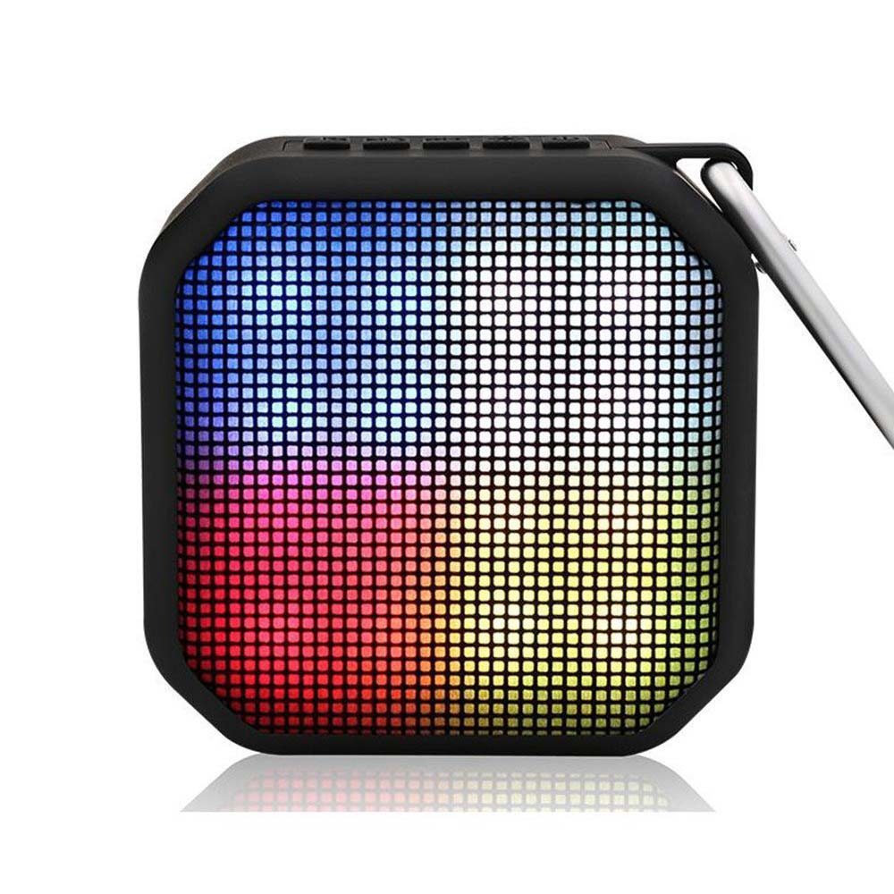 Portable Bluetooth Speaker,Wireless Speaker with FM Radio,Colorful LED light Built-in Microphone Support Hands-free AUX Input