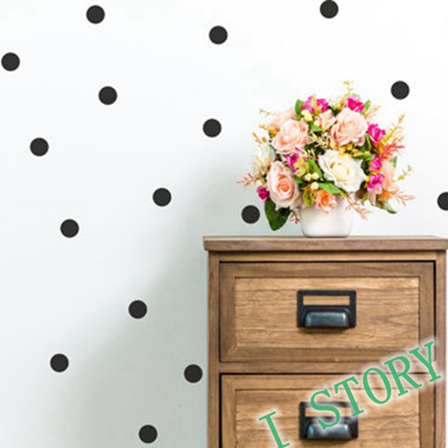 Polka dot vinyl wall sticker gold wall sticker peel and for Interieur stickers