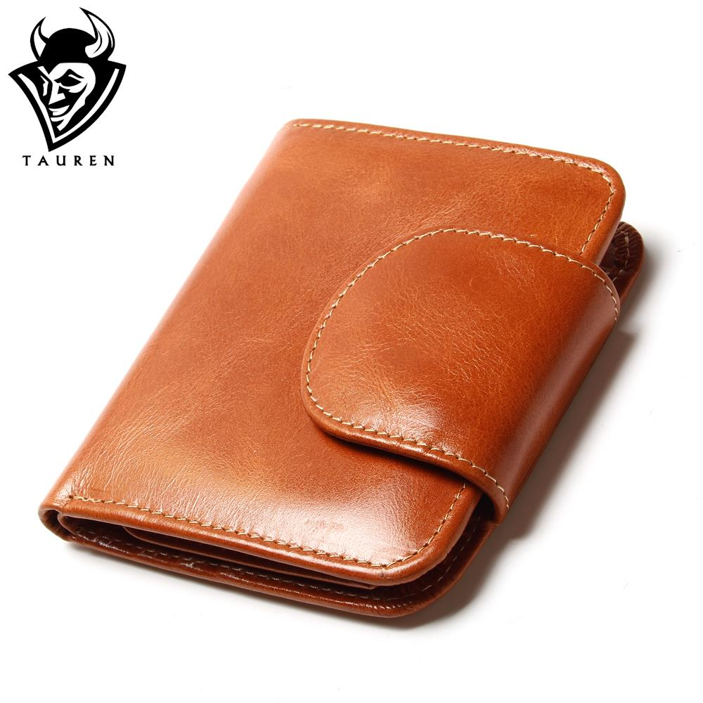 Fashion Small Retro Vintage Cowhide Genuine Leather Oil Wax Wallet Multinational Card Holders Coin Purse Women