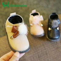 Claladoudou 11.5 13.5CM Baby Girls First Walkers Black Pompom Infant Ankle Boots Beige Bow Pu Leather Princess Dress Shoes 11