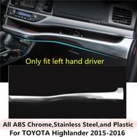 For Toyota Highlander 2015 2016 2017 car sticker detector ABS Chrome Middle co pilot Glove box front trim lamp trim panel 1pcs