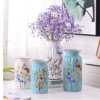 Beautiful flower and bird pattern ceramic vase, home office desk decoration gift, can hold water