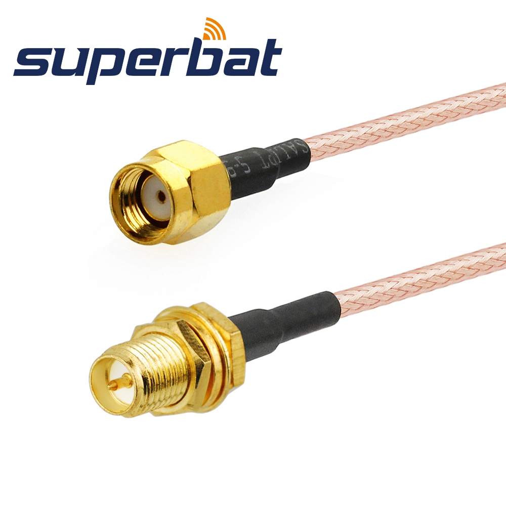 Superbat RP-SMA Male Straight To RP-SMA Female Bulkhead Pigtail Cable RG316 15cm For Wifi Antenna Cheap Cables