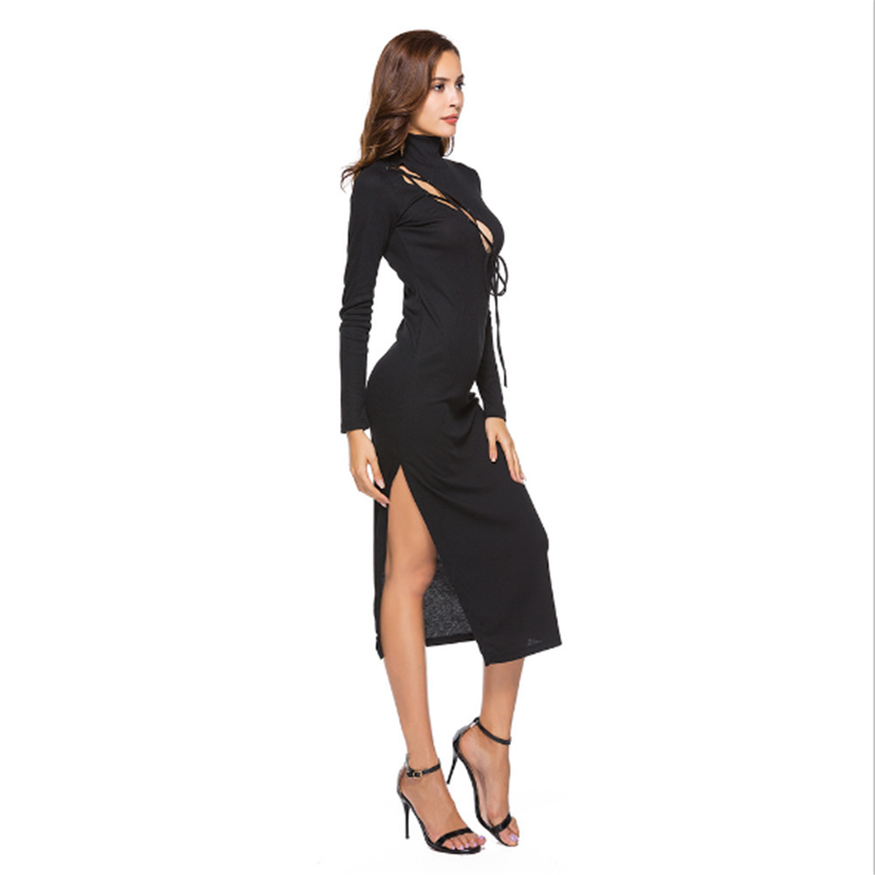 women casual dress Sexy cross straps chest full sleeve polyester empire summer slim Side slit dress in Dresses from Women 39 s Clothing
