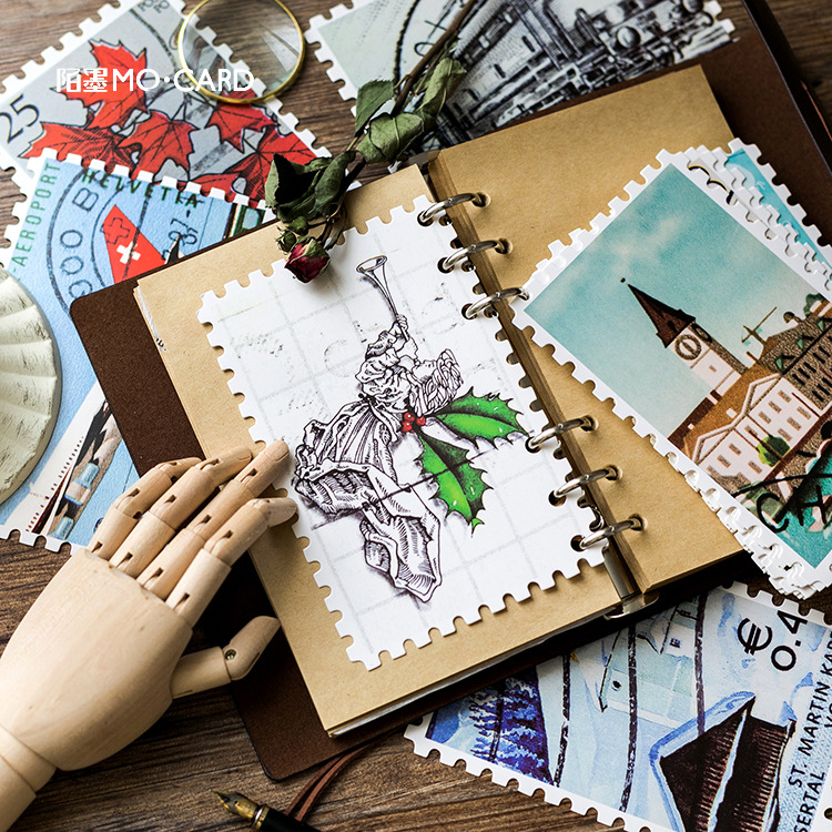 30 Sheets/Set Retro Stamp Series Postcard/Greeting Card/Message Card/Birthday Letter Envelope Gift Card