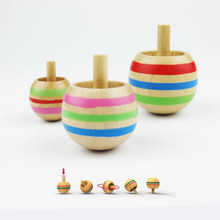3PCS Mini Wooden Inverted Spinner Gyro Hand Spinning Tops Classic Fidget Toys Kids Children Christmas Gift Funny Peg-Top Present(China)