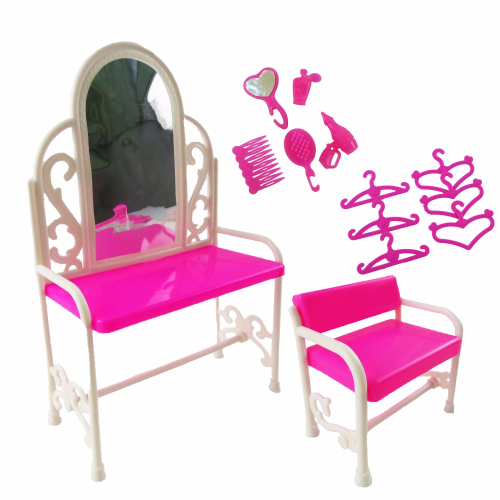 1 Set Handmade Barbie Doll's Dresser&Chair Plastic Doll Accessories For Barbie Doll Kid's Play House Toys Girl's Best Gift free shipping handmade doll clothes belt pants for obitsu11 ob11 cu poche 1 12 bjd doll accessories toys gift girl play house